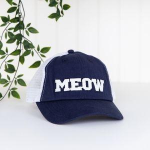 NEW Meow Baseball Hat Cat Lady Box Blue White